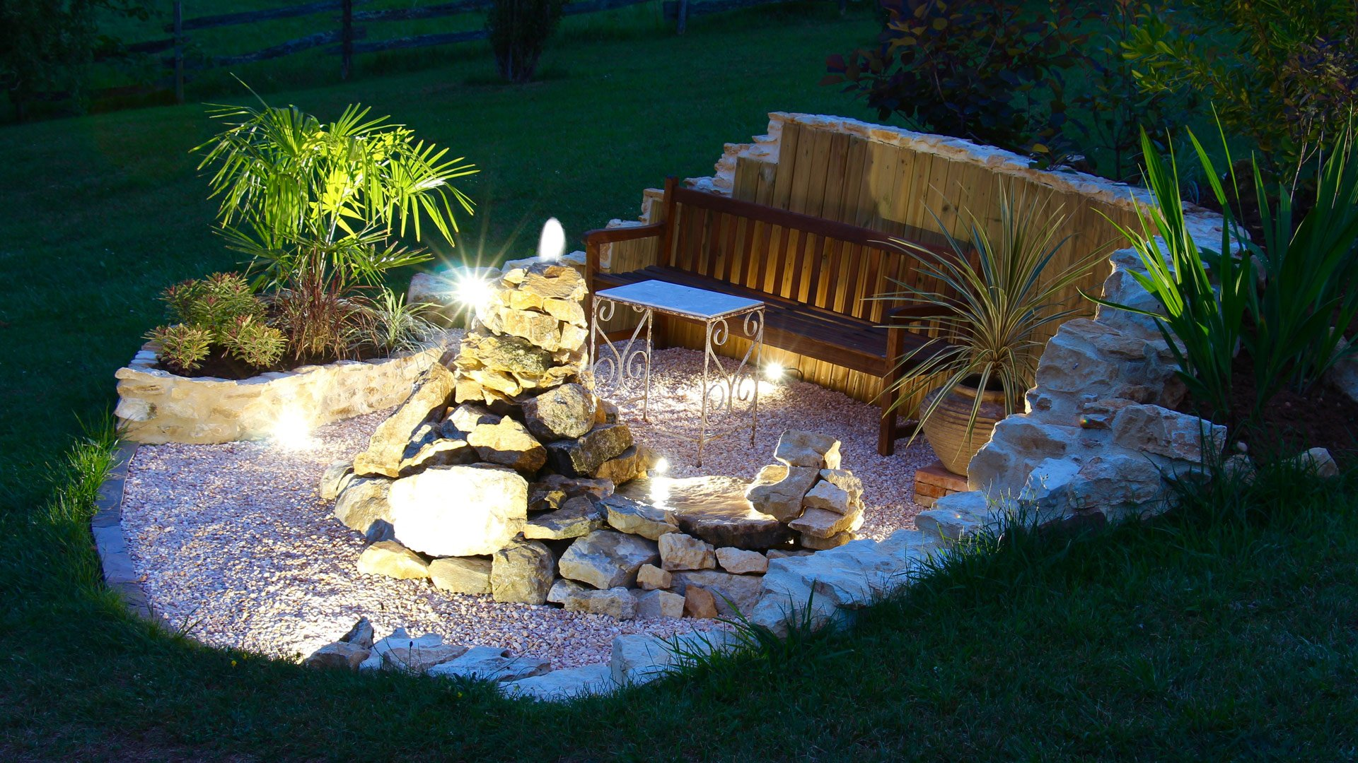 Nighttime water feature lmds